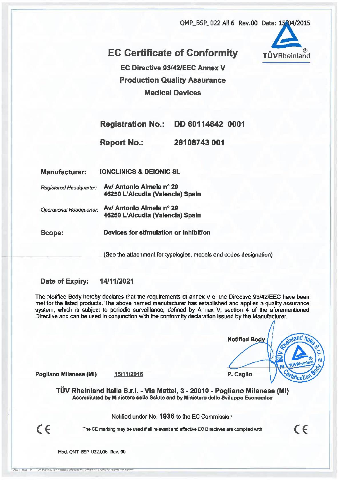 Certificado CE sanitario